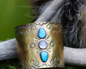 Natural Turquoise and Moonstone Brass Cuff. Hand Stamped Cuff. Large Cuff. Statement Jewelry. Natural Turquoise Bracelet.