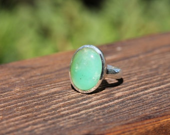 Stunning Chrysoprase Rings - US Size 8.75 - Solid Sterling Silver - Chrysoprase Jewelry - Metaphysical