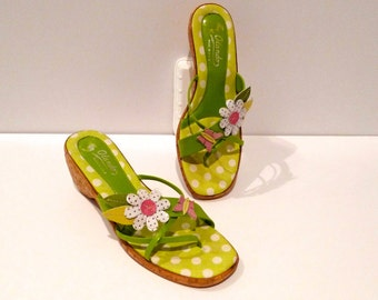 Daisy with Butterfly Topped Sandals Vintage Slides Faux Cork Wedge T strap Olando Italy Spring Green Size 7 Kawaii 1960s Mod