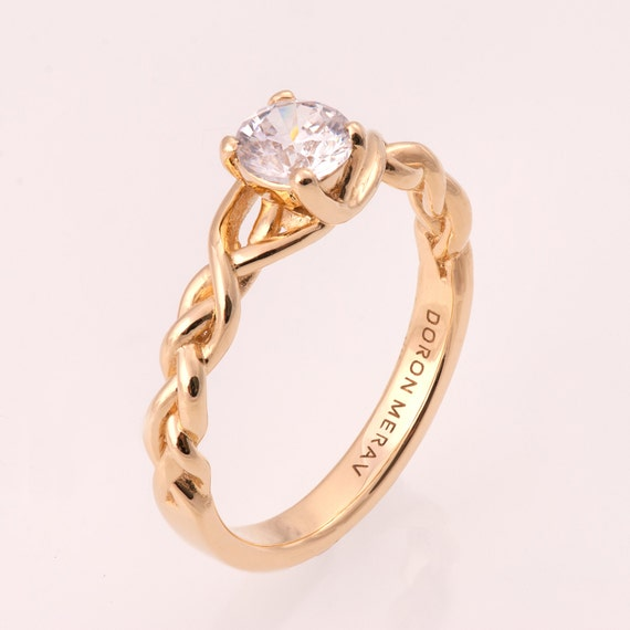 braided engagement ring no 2 14k gold and engagement