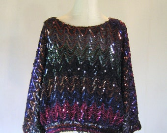 Ultra Glam Large Sleeve Slouchy Sequin Shirt Top