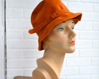 1960s Cecile Pumpkin Felt Bucket Hat