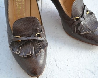 1950s Vittorio Petrini Italian Loafer Heels, Size 6