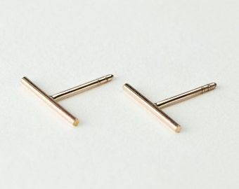 Long Round Bar Stud Earrings, Sterling Silver & Gold Plated, Bar Post Earrings, Slim Line Studs, Minimal Modern Jewelry, Gift, ST035