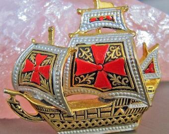 Enamel Gold Tone Sailing Ship Pin Brooch