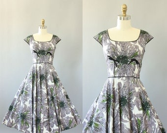 Vintage 50s Dress/ 1950s Cotton Dress/ Jay Original Gray & Green Floral Cotton Pique Dress w/ Sequins XS