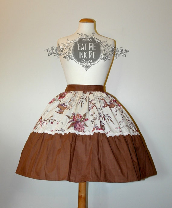 RESERVED - FINAL SALE Toile print skirt in brown and ivory Country Adventure lolita victorian mori girl easter