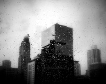 black and white photography, city photography, Chicago photography, urban photography, rain, city, dark, rain photography