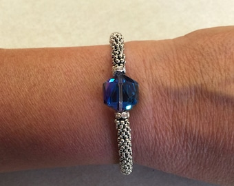Blue Crystal - Lagos inspired Bangle Bracelet/Bangle/Blue Crystal and Bali Silver/Stacking Bracelet