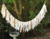 Fabric Ribbon Burlap Wedding Garland, Boho Chic, Romantic Wedding Banner Wedding Decor, Photo Backdrop, Vintage Wedding Garland, Fabric Swag