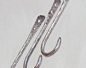 Sterling Silver Shorty Wall Hooks Stone Textured Handmade Set of 3