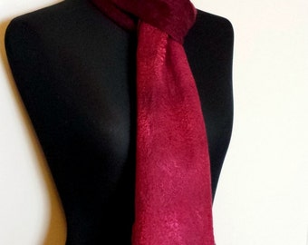 Handfelted burgundy hand dyed mulberry silk and merino wool Scarf 'Rose'