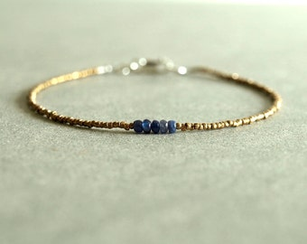 Tiny Sapphire Bracelet, genuine blue sapphire, minimalist, African brass beads, sterling, small bead bracelet, natural real sapphire jewelry