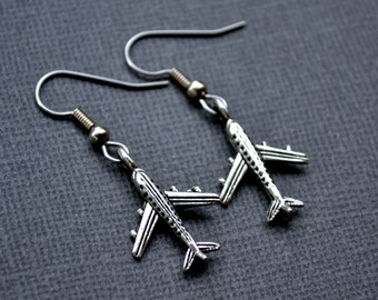Silver Airplanes . Earrings