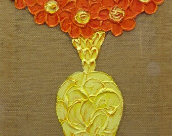 Impasto Flowers on Burlap...18x24 Painting...Kelly Hutchinson