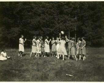 "Vintage Photo ""Summer Games"" Camp Girls Playing Snapshot Photo Old Antique Black & White Photograph Found Paper Ephemera Vernacular - 27"