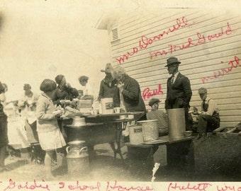 "Vintage Photo ""Schoolhouse Luncheon"" Snapshot Antique Photo Old Black & White Photograph Found Paper Ephemera Vernacular - 60"