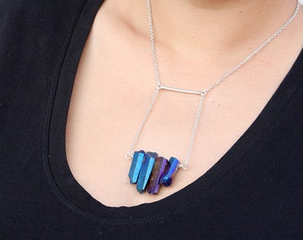 Shining Blue Quartz Cluster Pendant