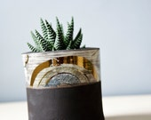 small succulent planter. modern planter, black, gold, handmade, ceramic planter for him. gift for plant lovers. pottery planter.