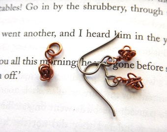 Dainty Tornado Rose Short Earrings and Small Pendant Set - Copper and Hypoallergenic Niobium / Unique Botanical Weather Jewelry for Her