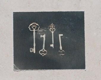 Skeleton Key print, cyanotype, cottage chic decor