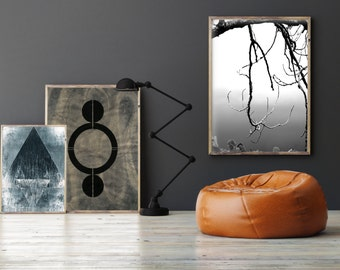 set of 3 prints zen art manly dcor black and white prints - Manly Room Decor