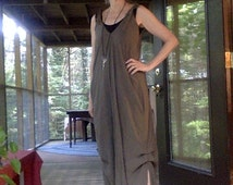 CUSTOM Jumpsuit or Romper, maxi length jumper, green grey drapey crinkled rayon