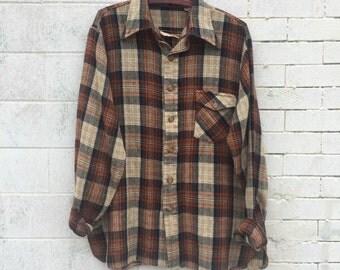 Vintage men's plaid woven button up- Size Large