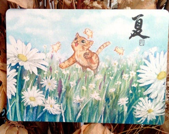 "Kitty cat playing with chicks on White Daisy Flowers land 4.25""x6"" watercolor painting fine art print postcard"