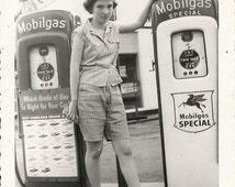 Vintage 1950's Young girl by vintage antique gas pump  DIGITAL DOWNLOAD