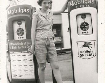Vintage 1950's Young girl by vintage antique gas pump  DIGITAL DOWNLOAD