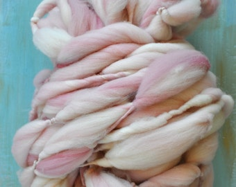 SUPER bulky light pink baby pink yarn Thick and Thin handspun chunky knitting supplies crochet supplies