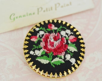 Vintage Brooch Featuring a Petit Point Needlepoint Red Rose