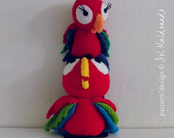 Amigurumi Crochet Pattern PDF - lapa red parrot amigurumi Toy bird crochet pattern - Instant DOWNLOAD