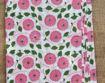 """Pink & Green Flowers, Hand Block Print 100% Cotton Fabric, 1 yard x 45"""", Traditional Border Printed, Fashion Supply, Sewing, Craft Supplies"""
