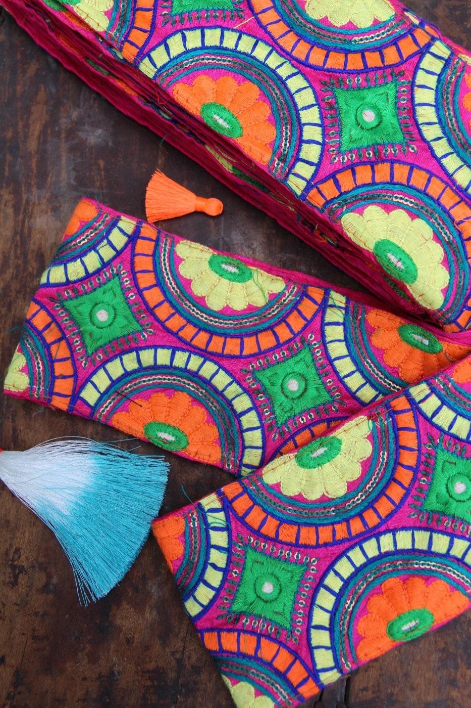 Fiesta time bright floral embroidered silk trim ribbon sari