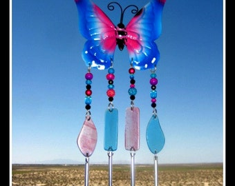 Blue & Pink Metal Butterfly Windchime/Mobile