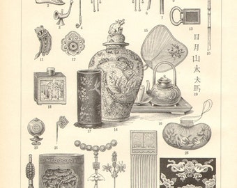 1903 Chinese Arts and Artifacts Vintage Engraving Print