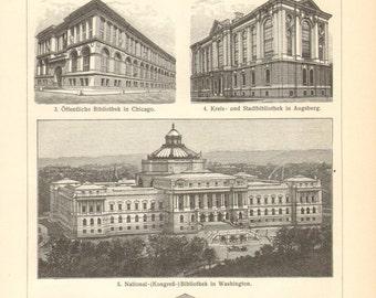 1903 Vintage Print of Library Buildings
