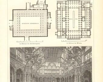 1903 Vintage Engraving Print of Stock Exchange Buildings in the 19th Century