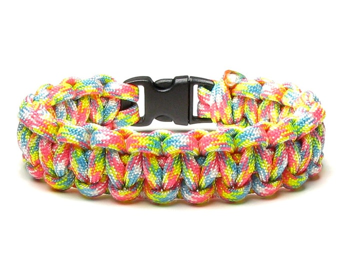 Paracord Bracelet Birthday Cake Confetti Bright Pastel Colors Pink Yellow Aqua Survival Accessories 550 Parachute Cord Gift For Women Teen