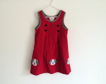 1990s girls corduroy plaid / gingham / checkered trimmed puppy dog embroidered dress