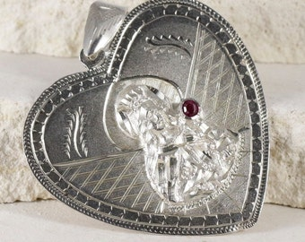 Saint Barbara - Vintage - Silver - Religious Medal - Pendant with Ruby on 18 inch sterling silver rolo chain