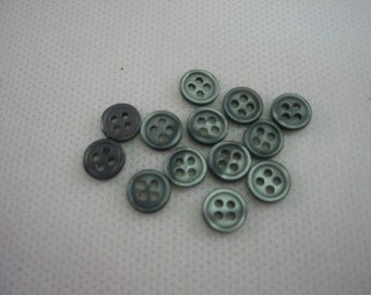 """Smoke shirt buttons, Small smoke buttons, Extra Small 5/16"""" (8.00mm) Smoke Pearl Lot of 6"""
