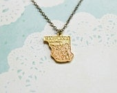 Vintage Maryland Necklace - State Necklace - Maryland State - Baltimore - Annapolis - Potomac River - State Jewelry - Maryland Jewelry