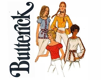 1970s Classic peasant blouse Short puff or full Raglan sleeves Size Petite 6 Bust 30 1/2 UNCUT 70 Vintage Sewing Pattern Butterick 6206