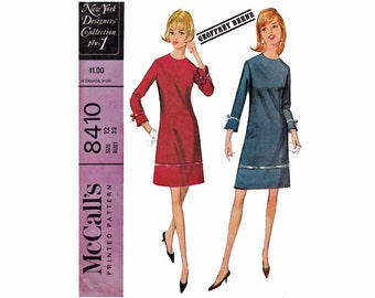 Geoffrey Beene Dress 60s Vintage Sewing Pattern New York Designers' Collection plus 1 McCalls 8410 Bust 32 Size 12 Jewel Neck mod dress