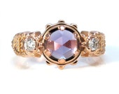 Ladies Steampunk Amethyst Ring with Diamond set Gears - Industrial Engagement Ring