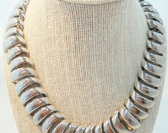 Vintage Collar Necklace Large 152 Grams Chunky Silver Plated Tone Metal 1960's Heavy Huge Retro Art Deco Statement Runway