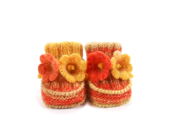 Knitted Baby Booties with Crochet Bell Flowers - Yellow Orange, 0 - 3 months